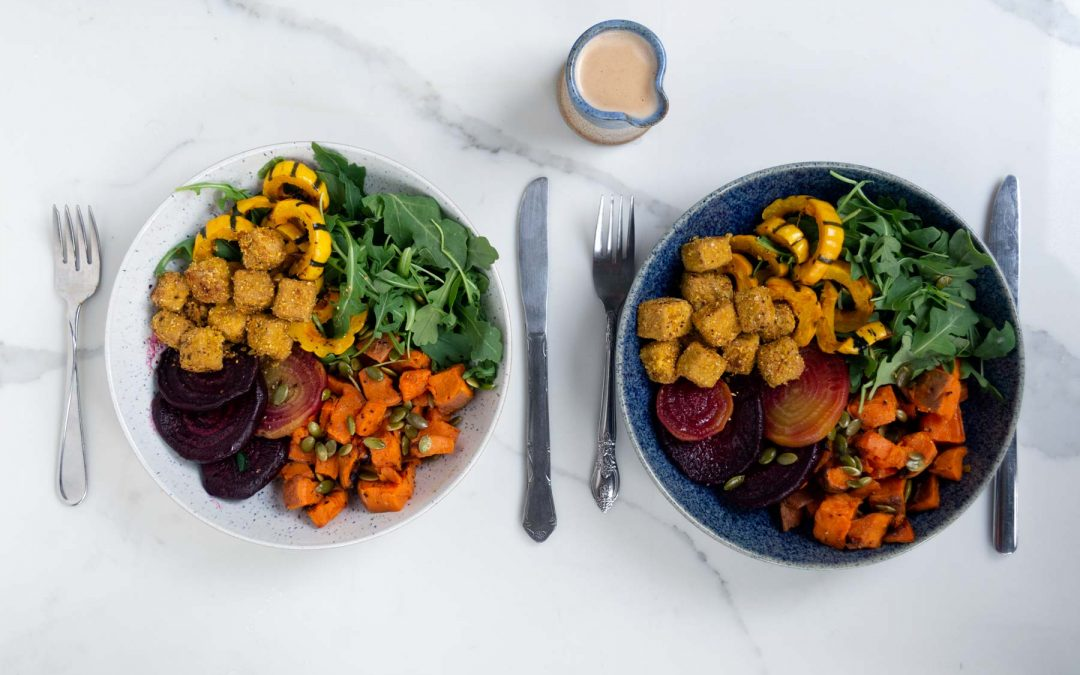 Roasted Vegetable & Tofu Bowl with Almond Butter Sauce