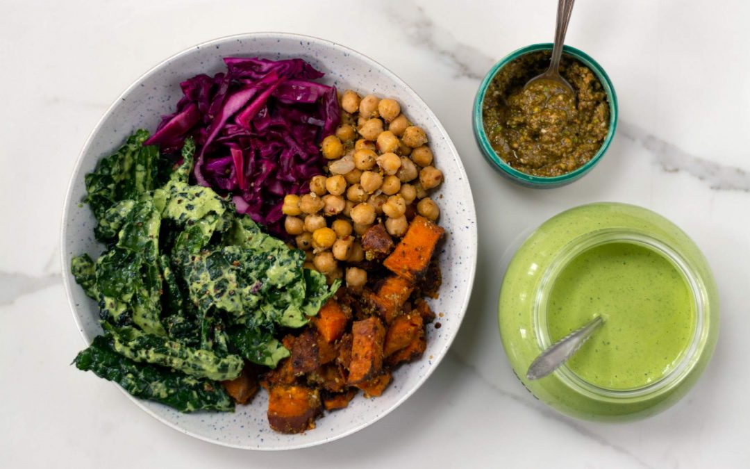 Dukkah Roasted Vegetable Bowl with Green Tahini Dressing